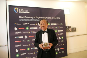 Prof. C.C. Chan at the backdrop of the Prince Philip Award ceremony