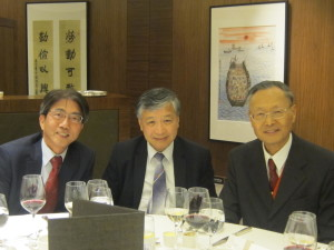 2nd Academy Dinner 2014, Ir Paul Poon was taken a photo with Prof. Y L Choi (President) and Prof. Joseph Lee (Immediate Past President) at the dinner