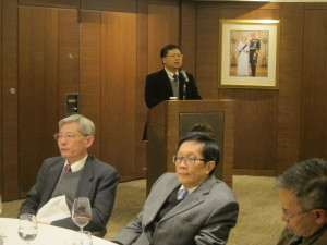 Dr. K T Chau was giving a report on behalf of Prof. C C Chan at the dinner after the AGM
